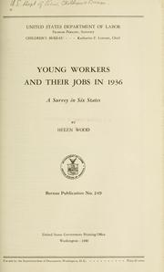 Cover of: Young workers and their jobs in 1936