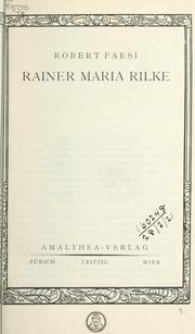 Cover of: Rainer Maria Rilke