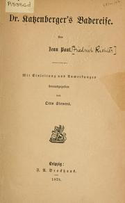 Dr. Katzenbergers Badereise by Jean Paul