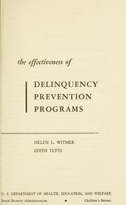 Cover of: The effectiveness of delinquency prevention programs