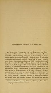 Cover of: [An  additional character for the definition of Rhynchophorus Coleoptera]