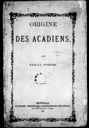 Cover of: Origine des Acadiens