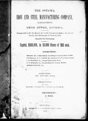 Cover of: [ Prospectus] of the Ottawa Iron and Steel Manufacturing Company | Ottawa Iron and Steel Manufacturing Company.