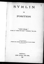 Cover of: Syrlin, or, Position