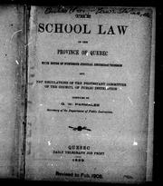 Cover of: The School law of the province of Quebec |