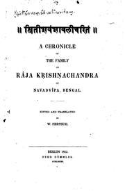 Cover of: A Chronicle of the Family of Râja Kṛishṇachandra of Navadvîpa, Bengal | Wilhelm Pertsch