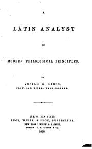 Cover of: A Latin Analyst on Modern Philological Principles