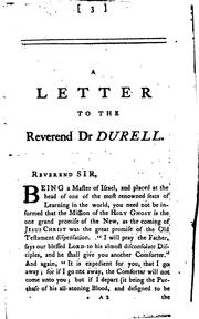 Cover of: A letter to ... dr. Durell ... occasioned by a late expulsion of six students from Edmund hall