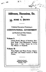 Cover of: Addresses, Discussions, Etc. | Rome Green Brown