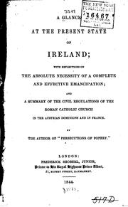 Cover of: A Glance at the Present State of Ireland: With Reflections on the Absolute ... | Frederic Shoberl