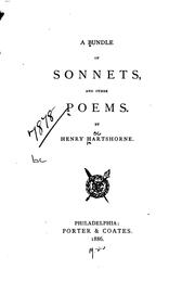 Cover of: A Bundle of Sonnets and Other Poems | Henry Hartshorne
