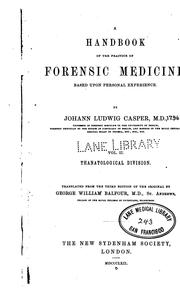 Cover of: A Handbook of the practice of forensic medicine v. 4 1865 | Johann Ludwig Casper