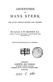 Cover of: Adventures of Hans Sterk, the South African hunter and pioneer | Alfred Wilks Drayson