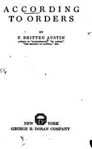 Cover of: According to Orders | Frederick Britten Austin
