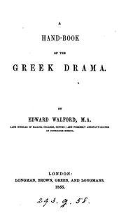 Cover of: A hand-book of the Greek drama | Edward Walford