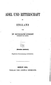 Cover of: Adel und Ritterschaft in England