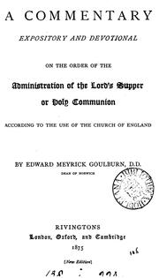 Cover of: A commentary ... on the order of the administration of the Lord's supper
