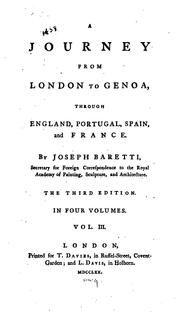 Cover of: A journey from London to Genoa, through England, Portugal, Spain, and France