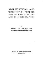 Cover of: Abbreviations and technical terms used in book catalogs and bibliographies, in eight languages | Frank Keller Walter