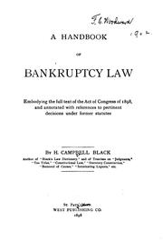 Cover of: A Handbook of Bankruptcy Law: Embodying the Full Text of the Act of Congress ..