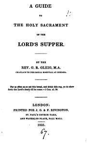 Cover of: A guide to the holy sacrament of the Lord's supper