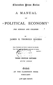Cover of: A Manual of Political Economy for Schools and Colleges | Rogers, James E. Thorold