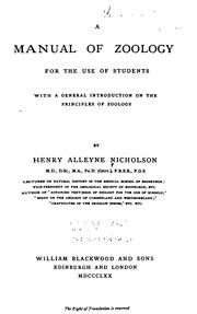 Cover of: A Manual of Zoology ...: Fot the Use of Students, with a General ..