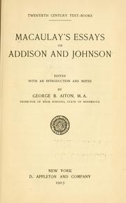 Cover of: Macaulay's essays on Addison and Johnson