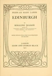 Cover of: Edinburgh | Rosaline Orme Masson