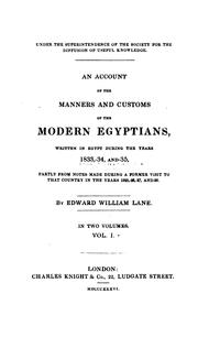 Cover of: An Account of the Manners and Customs of the Modern Egyptians,: Written in ..