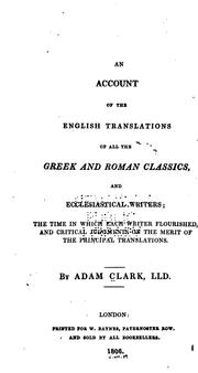 Cover of: An Account of the English Translations of All the Greek and Roman Classics, and Ecclesiastical ..