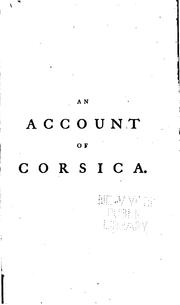 Cover of: An Account of Corsica,: The Journal of a Tour to that Island : and Memoirs of Pascal Paoli