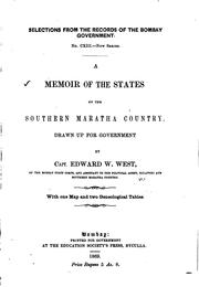Cover of: A Memoir of the States of the Southern Maratha Country