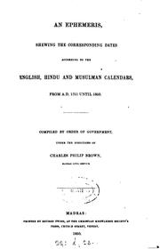 Cover of: An Ephemeris: Shewing the Corresponding Dates According to the English ..