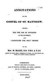 Cover of: Annotations on the Gospel of st. Matthew | Miles Bland