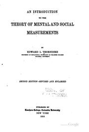 Cover of: An Introduction to the Theory of Mental and Social Measurements