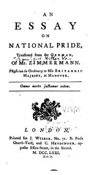 Cover of: An Essay on National Pride