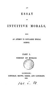 Cover of: An essay on intuitive morals [by F.P. Cobbe] 2 pt