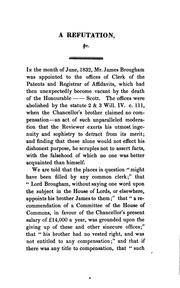 Cover of: A refutation of ... the calumnies against the lord chancellor contained in ... the Quarterly ..