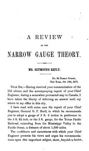 Cover of: A review of the theory of narrow gauges as applied to main trunk lines of railway