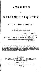 Cover of: Answers to Ever-recurring Questions from the People: A Sequel to the Penetralia