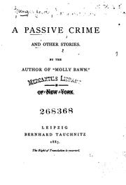 Cover of: A Passive Crime: And Other Stories | Margaret Wolfe Hamilton Hungerford