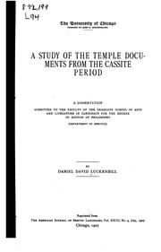Cover of: A study of the temple documents from the Cassite period | Daniel David Luckenbill