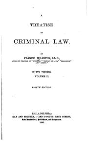 Cover of: A treatise on criminal law