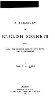 Cover of: A Treasury of English Sonnets | David M. Main