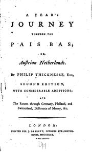 Cover of: A year's journey through the Pais Bas or Austrian Netherlands