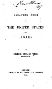 Cover of: A vacation tour in the United States and Canada