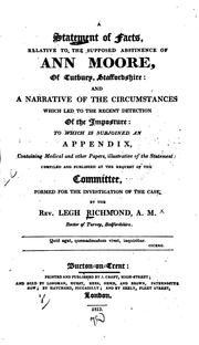 Cover of: A Statement of Facts, Relative to the Supposed Abstinence of Ann Moore, of ... | Legh Richmond