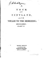 Cover of: A Tour in Scotland and Voyage to the Hebrides, 1772: [and Voyage to the ..