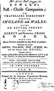 Cover of: Bowles's post-chaise companion; or, Travellers directory through England and Wales